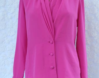 hot pink,shawl collar,tailored,fitted, top, blouse,stylish,office,,1990s,90s,1980s,80s, lightweight,polyester,button up, shirt