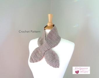 Ascot Scarf, Crochet Pattern, Easy Pattern, Worsted Yarn, Bow Scarf, Neck Warmer, Keyhole Cowl, Women Teen Girls, One Skein