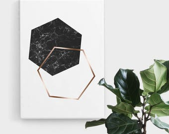 Black Marble Rose Gold Hexagon Print, Print Art, Geometric Art, Abstract Art, Scandinavian Print, Minimalist Art, Digital Art, Printable Art