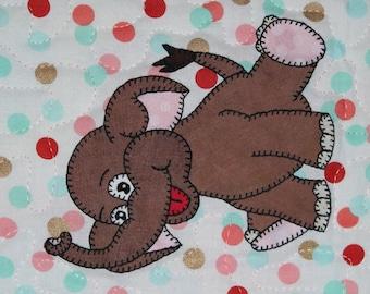 Asian elephant PDF applique pattern; baby quilt pattern; child's quilt pattern; zoo quilt applique pattern; animal PDF quilt block pattern