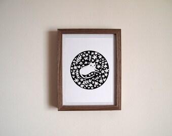 Monochrome cat A5 print - Cat art print - Monochrome - Cat - I like Cats - Cat illustration - Cat art - Cat print - Cats - Cat gift - art