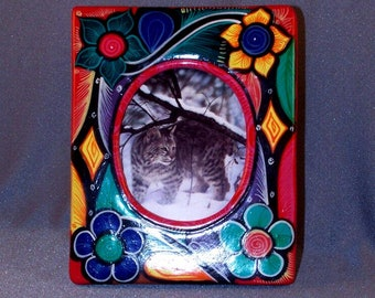Mexican Hand Made Picture Frame // Clay // Colorful // Pretty // Hand Painted // Gift // One Piece //