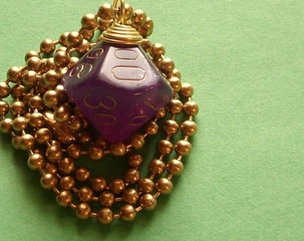 D10P Dice Pendant - Dungeons and Dragons -  Velvet Purple - Geek Gamer DnD Role Playing RPG - Paw & Claw Designs