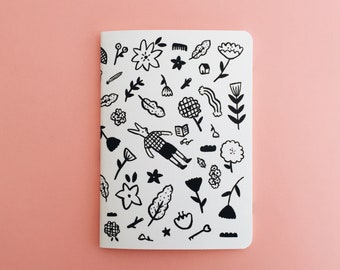 Forest Notebook - Illustrated Journal - Handbound Sketchbook - Blank pages - Lined pages