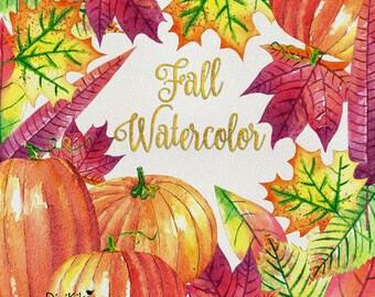 Fall Watercolor Clipart, Hand Painted Watercolor - Autumn Clip Art - Pumpkin, Halloween, Thanksgiving, Orange, Green, Red, Purple, Seasonal