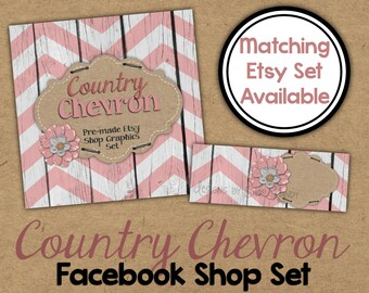 Rustic Facebook Timeline Set - Country Shop Banner - Rustic Burlap Timeline Cover - Chevron Facebook Shop Set - Shop Branding