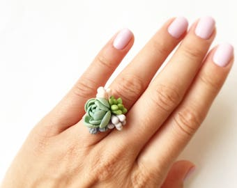 Succulent ring succulent jewerly mint succulent wedding Plant Jewelry blush mint wedding nature lower ring pretty little ring green ring