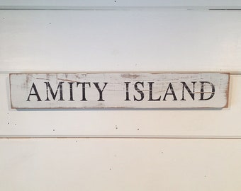 Hand Painted Reclaimed Wood Amity Island Jaws Sign