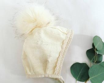 baby bonnet - fall- winter hat - bonnet- pom pom bonnet. size 12-18 months