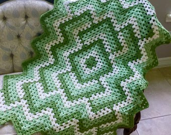 Green Small Crochet Afghan - Crochet Granny Blanket Lap or Baby Afghan - Pantone Greenery Modern Design Throw Blanket  - Travel Size Blanket
