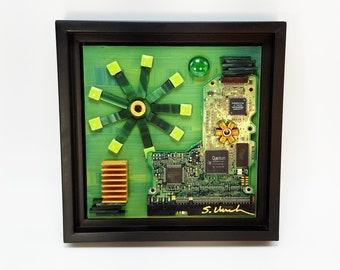 Techie art 6x6 recycled computer parts wall art. Office art nerd art geek. Industrial wall art. Ceramic glass mosaic tile circuit board art.