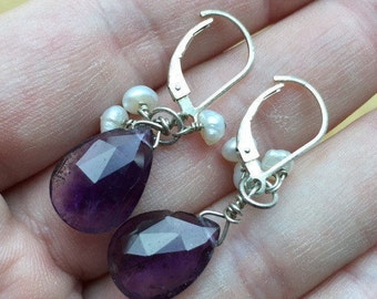 Amethyst and Pearl Earrings -- 336