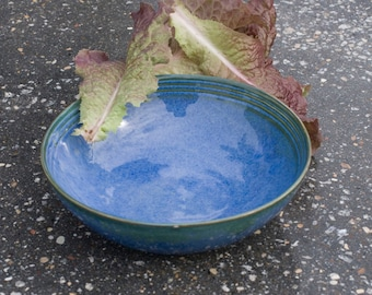 Soup or Salad bowl, Ocean Blue with hints of Green, Blue Green, Natural Patina High Fire Stoneware, Hand Painted, Ready To Ship