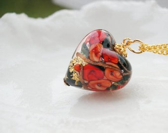 Black & Red Murano Glass Heart Necklace