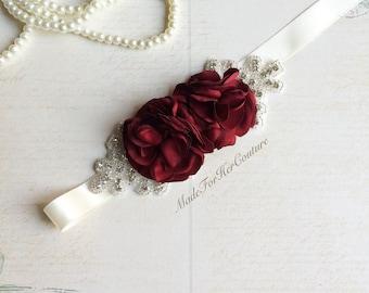 Burgundy Bridal Sash/Belt, Burgundy Flower Sash, Flower girl Sash, flower girl belt, Rustic Sash, Wedding Sash, wedding belt, bridal sash