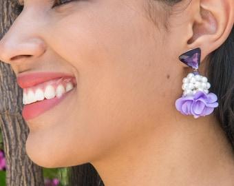 Purple Earring, Boho, Statement, Tassel, Mother, Pearl Gift, Bridesmaid, Bridal, Wedding Jewelry, Fabric Flower, Lavender, Lilac, Violet