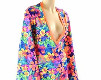 Neon UV Glow Tahitian Floral Bell Sleeve Romper with Plunging Orange V Neckline Rave Festival Onsie 152255
