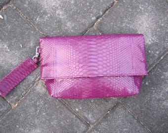 Wine Color Python Leather Foldover Clutch, Large Leather Wristlet Purse, Leather Wristlet Clutch