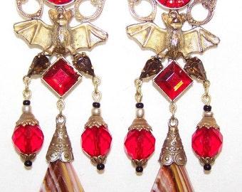 Vintage Unique Art Nouveau Bat Clear Striped Glass & Blood Red Rhinestone Drop Earrings