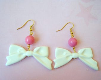♥ White bows and pearls earrings ♥ ♥