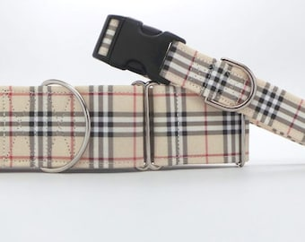 Sandy Shore Tartan CANVAS Dog Collar (Martingale, Buckle or Tag)