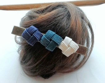 Blue hair clip, hair clip, blue, Japan, gift, birthday, christmas, kimono, simple, minimalist,  eco friendly