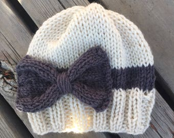 Knit Beanie with Bow, Luv Beanies, Knit baby hats, Knit hats for girls, Baby hats, Girl hats, Knit hats, Photo props, Kid hats