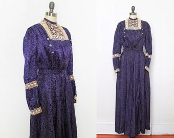 1910s Edwardian Dress / Polka Dot Silk / Skirt and Blouse Two Piece Set S XS