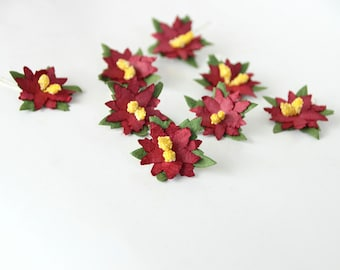 50 pcs - Burgundy small poinsettia flowers / handmade muberry paper flowers / wholesale pack