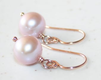 Natural Lavender Pink Pearl Drop Earrings, Genuine Freshwater Pearls 8-9 mm, 14K Rose Gold-filled, June Birthstone, Valentine's Day Gift