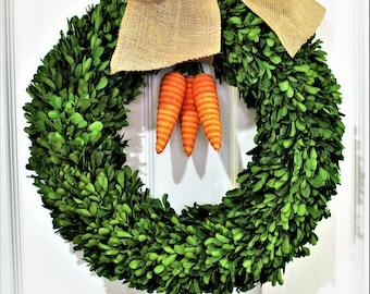 Easter Carrot Wreath, Boxwood Wreath ,Natural  Dried Boxwood wreath ,Carrot Wreath . Spring Wreath, Summer Wreath