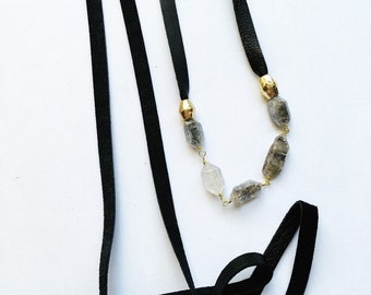 Herkimer diamond crystal leather wrap choker