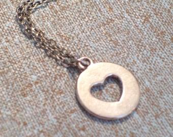 Antiqued Silver Heart Pendant Necklace, Modernist Heart Charm, Antiqued Silver Plated Chain