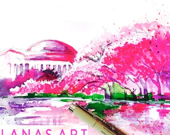 Cherry Blossoms in Washington DC Watercolor - Travel Illustration by Lana Moes - Wanderlust Giclee Print - Art Poster - Pink Interior Decor