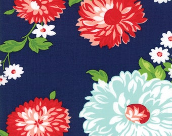 SPRING SALE - 5 yards - The Good Life - 55150 16 - Scrumptious Floral in Navy - Bonnie and Camille for Moda Fabrics
