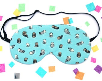 Otters Eye Mask, Cute Animal Fabric, Travel Mask, Silk Back, Gift under 15, Cute Present