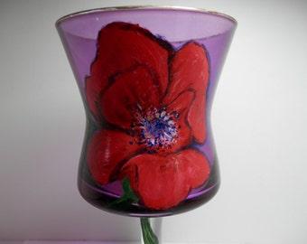 Hand Painted Glass Art Goblet Amethys Color Red Poppy Flower Tinted Tea Light Votive Candle Holder Dining Entertaining Boudoir Novelty Gift
