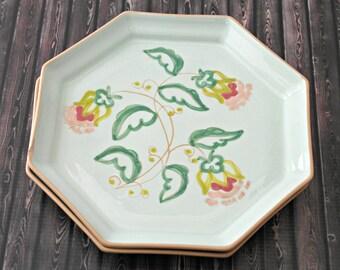 2 Mint Floral Hexagon Handmade Plates