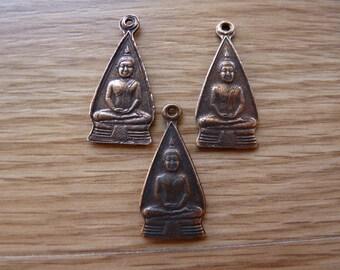 Copper plated brass Buddha pendant