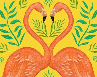 Yellow Flamingos A5 Print