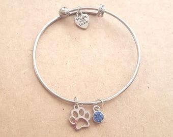 Silver Paw Bangle Bracelet, Paw Bracelet, Paw Jewelry