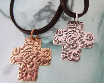 Handcrafted Floral Cross Necklace on Adjustable Leather, Silver or Bronze