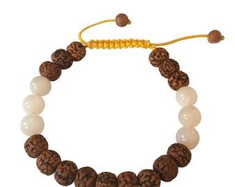 Rudraksha and Rose Quartz Tibetan Wrist Mala Bracelet