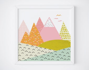 Abstract Nursery Art - Mountain Nursery Art - Abstract Landscape Print - Colorful Nursery Print - Nordic Print - 8x8 - Instant Download
