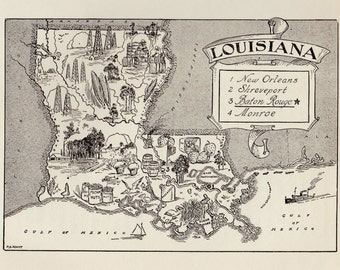 50's LOUISIANA Picture Map Pictorial State Map Print Black and White Gallery Wall Art Library Office Decor Birthday Gift for Wedding