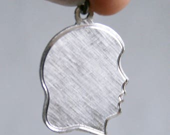 Sterling Silver Girl Head Blank Charm for Bracelet or Necklace