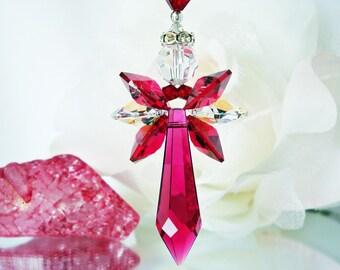 Red Crystal Angel Suncatcher Car Charm, Swarovski Crystal Rear View Mirror Accessories, Hanging Crystals