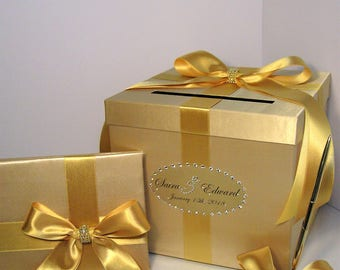 Wedding Card Box 3 Sets,1 tier Gold Card Box Guest book and Pen/Pen Holder Gift Card Box Money Box -Customize your color