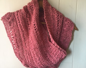 Hand knit pink cowl in silk/cotton/wool blend yarn