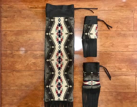 Wool and Leather Fringed Pipe Bag Set - Brown Mini Spirit of the People -  Pipe Bag / Cedar Bag / Medicine Bag Set Running Buffalo